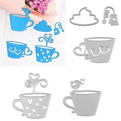 Qa_ 5Pcs/Set Tea Bag Coffee Cup Metal Cutting Die Mold Stencil For Diy Scrapbo