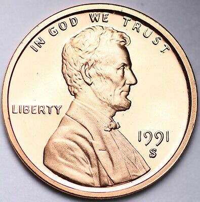PROOF 1991 S Lincoln Memorial Cent Penny FREE SHIPPING