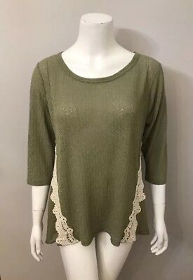 NWT Umgee Olive Green Lace Trim Sheer Chiffon Back Top Size L