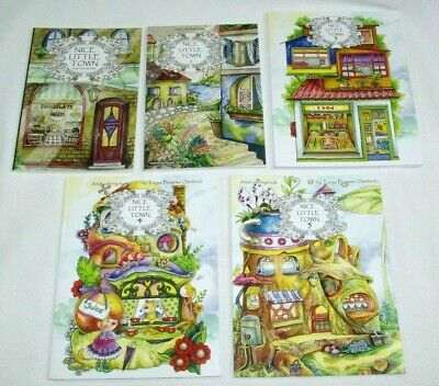 5 Lot Nice Little Town Vols 1, 2, 3, 4, 5 - Adult Coloring Books Art Therapy