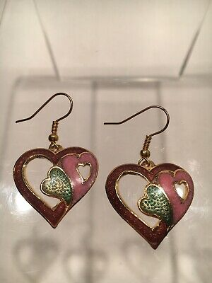 VTG Red Green Pink Heart Enamel Cloisonne Inlay Gold Earrings Dangle Asia Chines