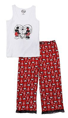 Mickey & Minnie Mouse Women's Pajama Top & Capri Pants Size Large or NWT