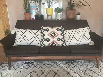 Vintage 1960s Danish 3 seater sofa brown wool