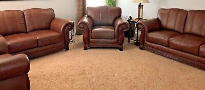 Brown Faux Leather Antique Inspired Sofa Love Seat & 2 Chairs  - 4 Piece Set