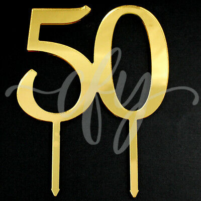 50 Cake Topper Acrylic Gold Mirror Fifty Birthday Anniversary Party Decorations