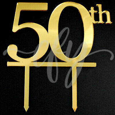 50th Birthday Cake Topper Acrylic Party Decorations Gold Mirror