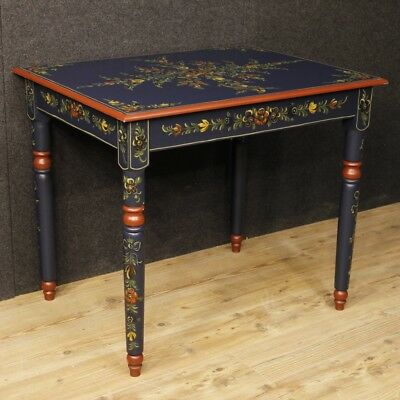 Table Painted Mobile Dutch Wooden Wood Flowers Living Room Antique Style 900