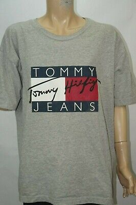 1b150eee Vintage Tommy Hilfiger Jeans T-Shirt Spell Out Big Box Flag Logo Mens Sz XXL