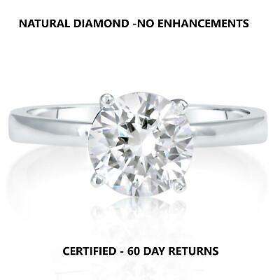 0.90 Carat D Si2 Natural Clarity Diamond Engagement Ring 18K White Gold