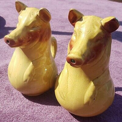 "2 Large Sarreguemines French Majolica ""PIG"" Jugs / Pitchers Circa 1890"