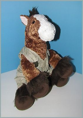 "Build a Bear Workshop plush brown Horse Pony Clydesdale 13"" with outfit"