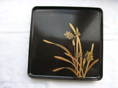 Antique Japanese lacquer tray with floral decoration 30 x 30 cm 1900-12 #3828C