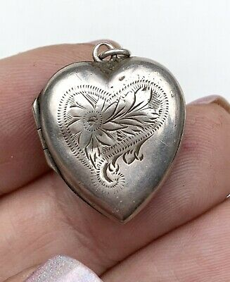 Antique sterling silver heart locket. Engraved charm pendant. Stamped Sterling