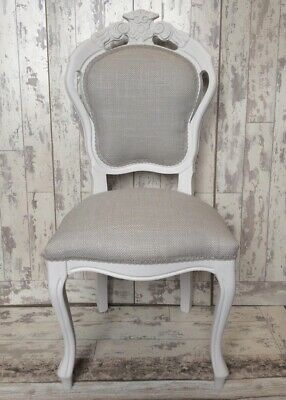 French Louis Style Dining Chair Laura Ashley Dalton Dove Grey Fabric