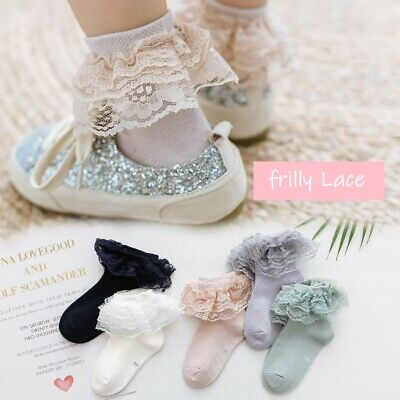 Girls Kids Toddlers Children Cotton Frilly Lace School Ankle Socks 2- 8 Years