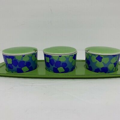 VTG Condiment Dishes Green Blue Floral 70's Lot 4  3 Dishes Tray Retro Funky