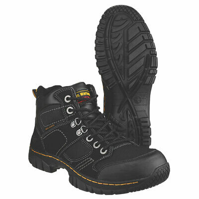 Dr Doc Martens Safety Work Boots Steel Toe Leather Black Shoes Mens Size 7-11