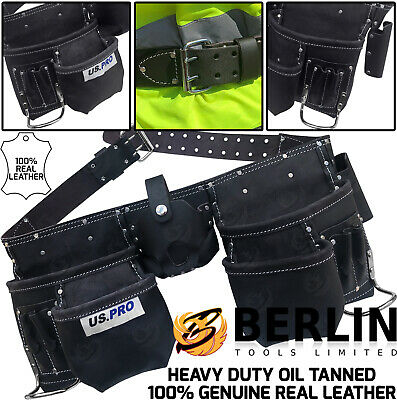 US PRO Tools Heavy Duty Leather Double Tool Belt Oil Tanned 11 Pockets 2302