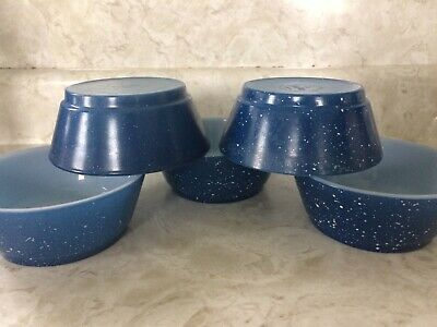 Anchor Hocking Fire King Cereal Chili Bowls Set Of 5 Blue White Speckled Granite