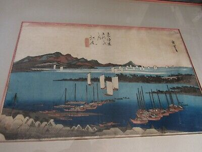 Original UTAGAWA HIROSHIGE antique japanese woodblock Distant View of Miho Beach