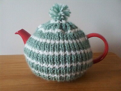 Hand knitted tea cosy, small fits two cup teapot, olive green