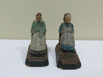 Lot of 2 Mini Antique Hand Carved Painted Wood Old Woman Sitting in Chair
