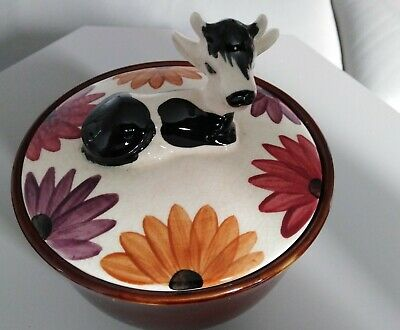 Vintage Oldcourt Ware Pottery Dairy Dish & Lid. Hand Painted. Made In England