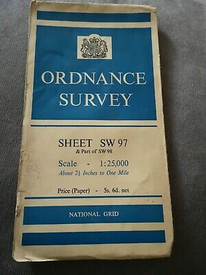 Padstow Wadebridge Ordnance Survey (OS) 1:25 000 (2.5 Inch) Map Sheet SW 97 1959