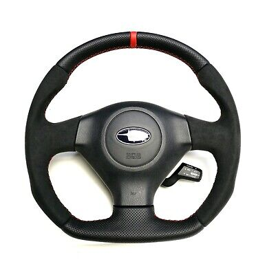 Steering Wheel SUBARU IMPREZA GD WRX STI SPORT STYLE FLAT BOTTOM ! Red stripe