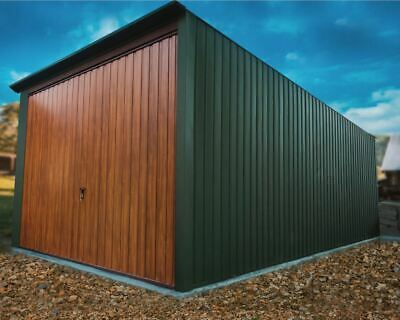 MALMO 5x3m 17ftx10ft  METAL GARAGE BUILDING LIFTED DOORS IN OAK COLOUR BIKE SHED