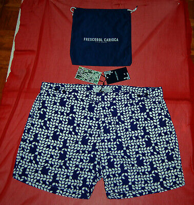 4c0dadb1c13 NWT FRESCOBOL CARIOCA mens navy blue beach wear swim board shorts 38 $250  (B)