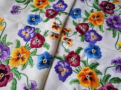 Exquisite Vintage Heavily Hand Embroidered Irish Linen Tablecloth ~ Pansies