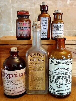 Old Medicine Bottle Hand Crafted,Opium,Quaalude,Heroin,Cannabis,Methedrine,Victo