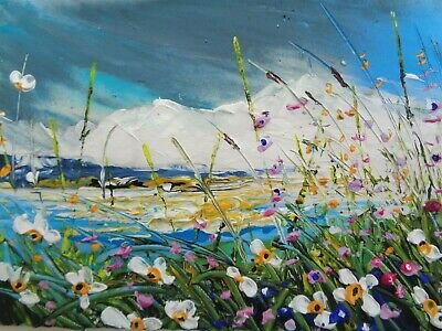 """ACRYLIC OIL   TEXTURED PAINTING ON  CANVAS """"WILD FLOWER MEADOW""""  5 x 7"""""""
