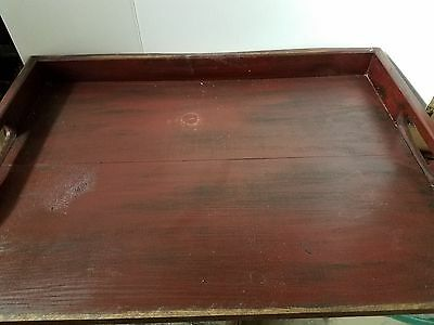 Primitive Stove Cover Noodle Board Hand Crafted Burgundy wood Farmhouse Tray