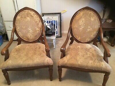 Pair of Victorian Carved Walnut or Rosewood Armchairs or Parlor Chairs
