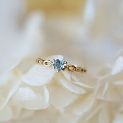 14k gold Heart Sapphire pieces of exquisite small fresh ladies engagement ring 9