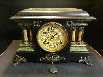 Antique Seth Thomas 4 Column Faux Green Marble Adamantine Mantle Clock Very Good