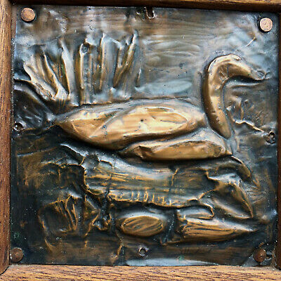 Arts and Crafts Copper Wall Art Oak Framed Dated 1922 Mallard Duck on Pond