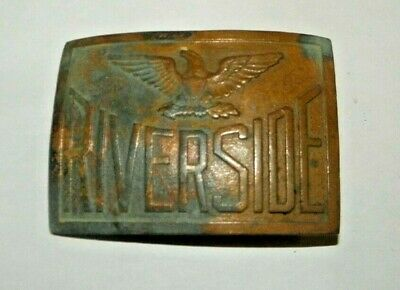 Vintage Brass Riverside Military Academy Georgia Eagle Belt Buckle