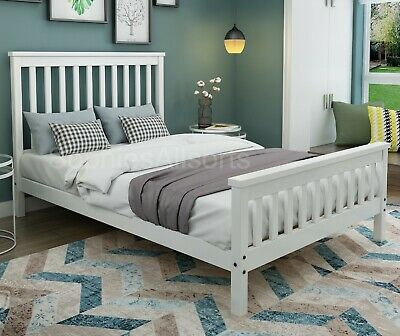 Ireland 4ft Small Double White Wood Shaker Style Bed Frame Mattress Sprung Foam