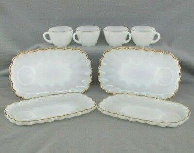 Vintage ANCHOR HOCKING Fire-King Milk white Gold CLASSIC SNACK SET W Box- 8 PC
