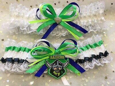 Canberra Raiders Licenced Tags on wedding garter set in all Sizes plus Sizes