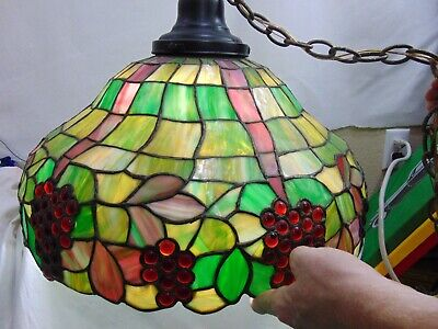 Vintage Stained Glass Hanging Light Fixture Grapes Kitchen Dining Large