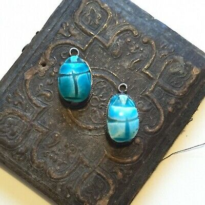 1 Vintage Scarab Pendant Beetle Ceramic Sterling silver Good Luck charm bug blue