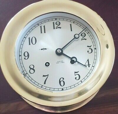 Chelsea Ships Bell Clock 6 inch silvered dial serial number 850467