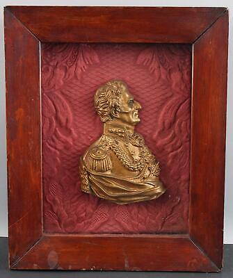 Antique Early 19thC Gilt Bronze Plaque, War of 1812 Military Officer, NR