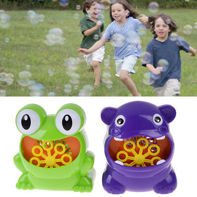 Frog automatic bubble machine blower maker party outdoor toy for kids Fh