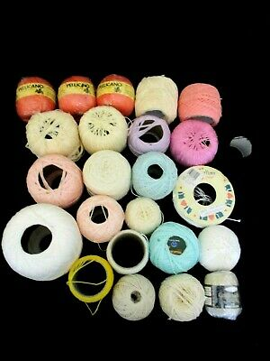 ~COATS/OTHER CHAIN MERCER CROCHET COTTON x 24 NEW & PARTIAL BALLS - COLOURED~