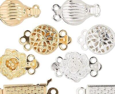 50 Gold & Silver Plated 8-12mm Fancy Tab Style Clasp Mix
